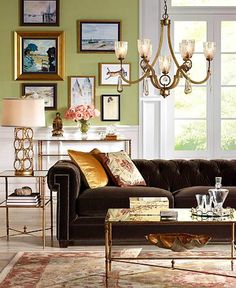 A velvet sofa with tufting is the centerpiece of this living room.