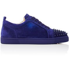 Christian Louboutin Men's Louis Junior Spikes Flat Suede Sneakers ($895) ❤ liked on Polyvore featuring men's fashion, men's shoes, men's sneakers, blue, mens low tops, mens suede shoes, mens suede lace up shoes, mens sneakers and mens blue suede shoes