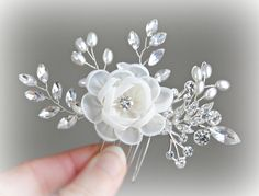 Peine del pelo de la boda cristal perla marfil por TheRedMagnolia
