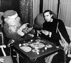 Bela Lugosi (aka Dracula) playing poker with Santa, 1940