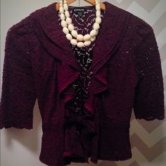 bebe Lace Jacket Plum bebe 3/4 length lace jacket with bow front. Perfect for work! bebe Jackets & Coats