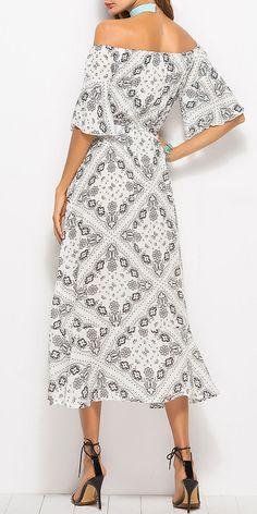 54980b3ad2a6 Bohemian Print Patchwork Off-shoulder Bandage Dresses. Size S