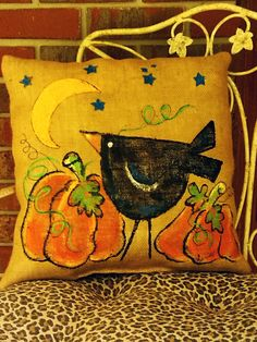 Fall Crow and Pumpkin Hand-painted on Tan Burlap Pillow Cover