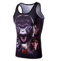 05bfb94f417f4b Personality Round Neck Gorilla Print Tank Top For Men