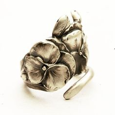 Reed & Barton Sterling Silver Floral Pansy Spoon Ring, MADE in Your Size (3863). $62.00, via Etsy.