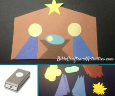 Simple Shape Nativity with printable template in black & white and color BibleCraftsandActivities.com