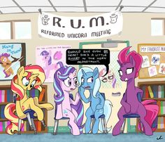 Reformed bad Unicorns together: Trixie Lulamoon, Sunset Shimmer, Starlight Glimmer, and Tempest Shadow/Fizzlepop Berrytwist. My Little Pony List, My Little Pony Comic, My Little Pony Drawing, My Little Pony Friendship, Mlp Memes, Dc Anime, Little Poni, Mlp Comics, Mlp Fan Art