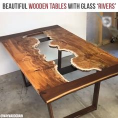 Beautiful wooden tables with glass 'rivers' , . Beautiful wooden tables with glass 'rivers' , You can find Rivers an. Diy Wood Projects, Wood Crafts, Woodworking Projects, Woodworking Plans, Diy Crafts, Woodworking Workshop, Woodworking Classes, Wood Resin Table, Wooden Tables