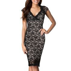Sexy Lace Evening Dress Womens Black Bodycon Scalloped V-Neck Cocktail Dresses #SAPPHYRA #Sexy #Cocktail