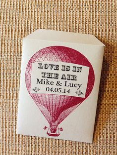 Hot air balloon wildflower seed favors - weddings, anniversaries, bridal and baby showers