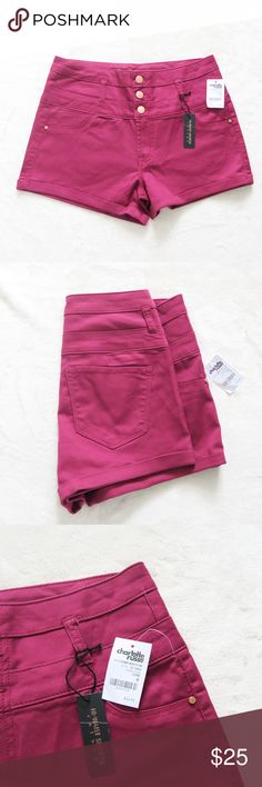 """NWT Charlotte Russe Berry High Waisted Shorts Sz 6 This is a NWT pair of shorts by the brand Charlotte Russe, these are their """"High Rise Shorties."""" Shorts feature a high waist with 3-button closure above a short zipper closure, 2 accent pockets in front, and 2 functional pockets in the back. These are a vibrant berry color. The fabric has a sheen to it which allows these shorts to be easily dressed up. Fits true to size. Charlotte Russe Shorts"""