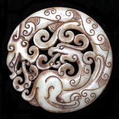 Dragon & Phoenix Chinese Jade pendant