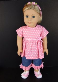 3pc Pink Summer Outfit with Pink Polka Dots and Jean Capri's Complete with Headband Designed for 18 Inch Doll Like the American Girl Dolls Shoes Sold Seperately