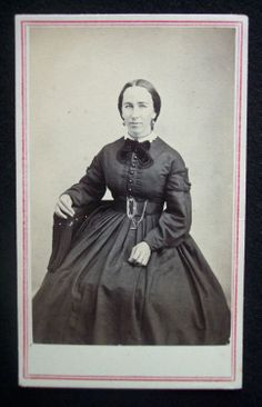 American Civil War Era CDV 1860's Photograph Tax Stamp Nashua NH New Hampshire | lovely fringed tie, necklace, earrings, watch, and large belt buckle!