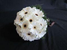 white gerbera daisy bridal bouquet