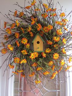 Spring Wreath, Country Wreath, Summer Wreath, Sunflower Wreath, Wreath. $56.95, via Etsy.