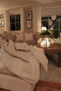 Cozy living room. I want my living room to look like this. But I will have to wait till the kids are older.