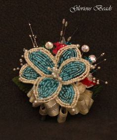 Turquoise-Beaded-Lily-Corsage-with-Rhinestones-and-Crysals-Wedding-Prom-Flowers
