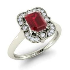 Engagement Rings - Cosette - Ruby Engagement Ring in 14k White Gold with SI Diamond (1.2 ct.tw.)
