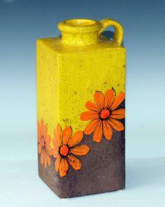 Vintage Bitossi Italian Art Pottery Square Jug Vase Raymor Cheerful Yellow
