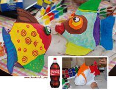Cola Bottle FISH kids craft. // Manualidad para hacer peces con una botella