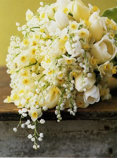 Peonies and lilly of the valley bouquet.  10th Anniversary Flower: Daffodil. Trumpet-shaped daffodils represent joy