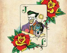 Joker Card Neo-Traditional, Old School Tattoo Flash Print