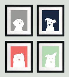 PRINTABLE blue and grey dog baby nursery art prints - Babyzimmer Puppy Nursery Theme, Navy Nursery, Baby Nursery Art, Baby Nursery Themes, Baby Boy Nurseries, Nursery Ideas, Room Ideas, Mint And Navy, Navy Blue
