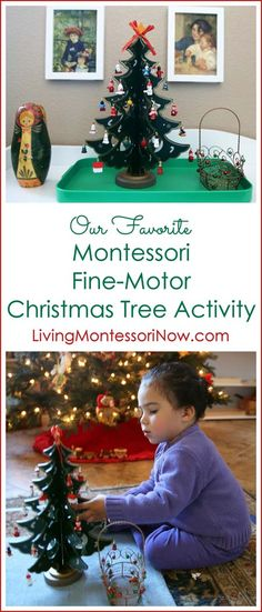 A Montessori fine-motor Christmas tree activity works on important skills while keeping preschoolers happy and engaged; perfect for home or classroom. Post includes the Montessori Monday linky collection.