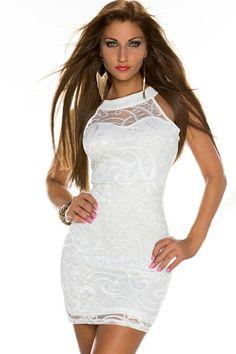 White Sexy Sleeveless Lace Dress US$19.56