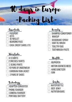 10 Days in Europe Packing List