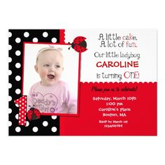 ladybug party outfit first birthday | Ladybug Photo 1st Birthday Party Invitation from Zazzle.com