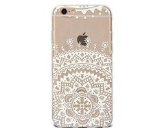 iPhone 6 case iPhone 6s case painted white lace flower transparent silicon iPhone 6 iPhone 7 iPhone 7 Plus plus case - TSW6004U