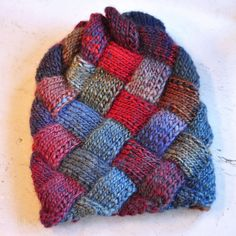CUBE hat sunset  hand made  knitted ooak made to by dagmarabuczek