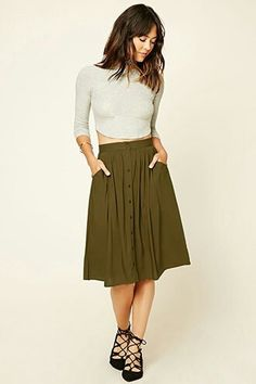 #formal outfit Olive green , Contemporary button front skirt