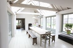 Beautiful country farmhouse Stunning new extension Kitchen and large dining area Living room and flagstone hallway Three . Modern Country, Country Farmhouse, Modern Farmhouse, Country Living, Country Kitchen, Paper Mulberry, Ceiling Trim, Country House Interior, Country Interiors