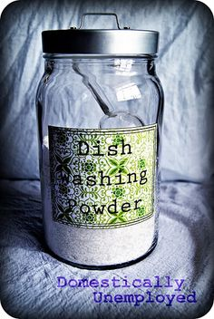 Homemade Dishwasher Detergent: 1 cup Borax, 1 cup washing soda, 1/2 cup LemiShine (citric acid), and 1/2 cup Kosher salt.  Add one Tbsp. to dishwasher!