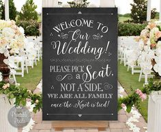 Pick A Seat Not A Side Printable Wedding Sign Chalkboard