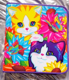 LISA FRANK// Vintage 90s Style Kitty Cat Colorful Binder,