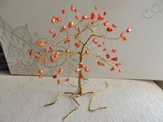Orange Freshwater pearl Wire Tree by AbssOluto on Etsy Personal Integrity, Wire Trees, Handmade Wire, Fresh Water, Charity, Pearls, Orange, Gemstones, Etsy
