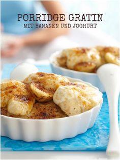Gratinierter Porridge mit Bananen und Joghurt schmeckt auch als feingemachtes Dessert besonders gut | Kalorien: 516 Kcal - Zeit: 20 Min. |  http://eatsmarter.de/rezepte/gratinierter-porridge