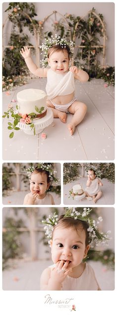 Girly cake smash portrait session for first birthday; one year milestone photo shoot | Portrait by Massart Photography of Rhode Island | www.massartphotography.com; info@massartphotography.com