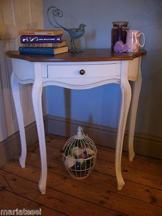 Shabby Chic French Style CHALK WHITE Console Hall Table Desk Half Moon Demi  Lune | EBay