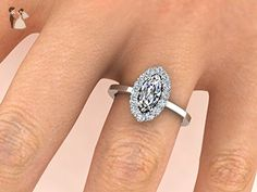 Semi-Mount ONLY, Marquise shape Diamond ring, Custom Made From 14k White Solid Gold Engagement Ring, Diamond Ring, Diamond Halo Ring - Wedding and engagement rings (*Amazon Partner-Link)