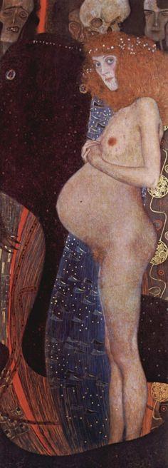 Gustav Klimt De hoop (Duitse titel': 'Die Hoffnung'), olieverf op doek, 181 × 67 cm, National Gallery of Canada, Ottawa Gustav Klimt, Art Klimt, Pierre Auguste Renoir, Ottawa, Monet, Art Nouveau, National Gallery, Vienna Secession, Adele