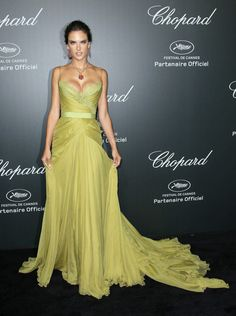 Great design for this dress. Swishy! Alexandra Ambrosio Cannes 2014