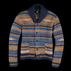 RRL - Hand-knit with a Twisted Jersey Stitch Cardigan in Orche