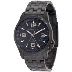 Torgoen T05207 classic aviation watch with black ion-plated stainless steel face and band.