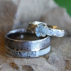 Unique wedding ring set, meteorite engagement ring and wedding band