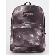 Jansport Black Label Superbreak Backpack ($36) ❤ liked on Polyvore featuring bags, backpacks, polyester backpack, jansport bags, jansport daypack, rucksack bags and galaxy print backpack